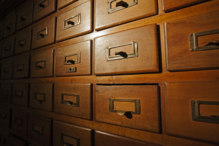 Old wooden card catalog in library in Santiago de Chile  photo
