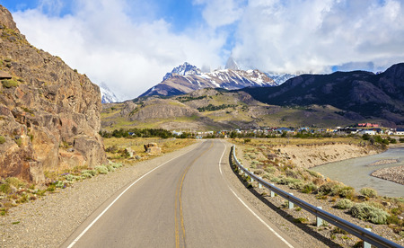 cerro chalten: Road to El Chalten with view of Fitz Roy mountain in clouds, Patagonia, Argentina