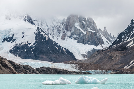 Winter in Los Glaciares National Park, Cerro Torre mountain in clouds, Patagonia, Argentina, South America
