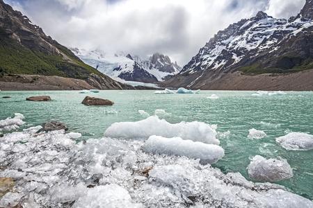 el calafate: Winter in Los Glaciares National Park, Cerro Torre mountain in clouds, Patagonia, Argentina, South America