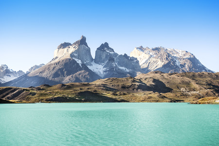 Pehoe mountain lake and Los Cuernos  The Horns , National Park Torres del Paine, Chile   photo