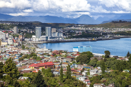 Panoramic view of Puerto Montt, important harbour of Chile