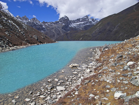 Mountain lakie in Sagarmatha National Park, Himalayas  photo