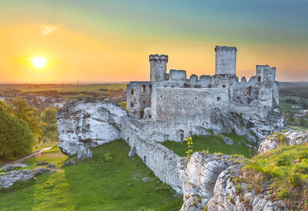 Sunset at castle, ruins of Ogrodzieniec fortifications, Poland   photo