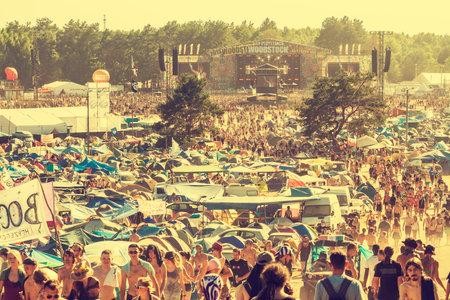 KOSTRZYN NAD ODRA, POLAND - AUGUST 2, 2013  19th Przystanek Woodstock  Woodstock Festival ,  biggest summer open air ticket free rock music festival in Europe, vintage style