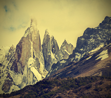 Cerro Torre Mountain in Los Glaciares National Park, Patagonia, Argentina, vintage retro filtered  photo