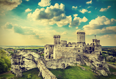 Ruins of a castle, Ogrodzieniec fortifications, Poland, vintage retro filter.  photo