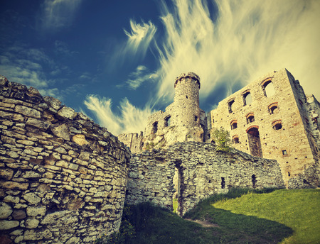 Vintage retro style ruins of castle. photo