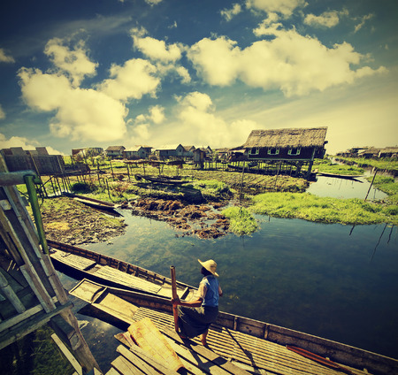 lake dwelling: Village on water, Inle Lake, Burma  Myanmar , vintage retro