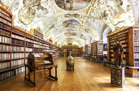 PRAGUE, CZECH REPUBLIC - JUNE 15, 2014  The Theological Hall in Strahov monastery in Prague, one of the finest library interiors in Europe