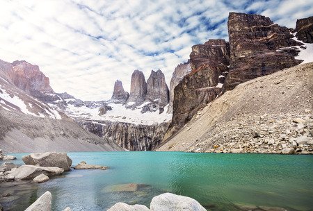 torres del paine: Mountains and lake in Torres del Paine National Park, Patagonia, Chile  Stock Photo
