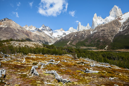 fitz roy: Fitz Roy mountain range, Andes in Patagonia, Argentina  Stock Photo