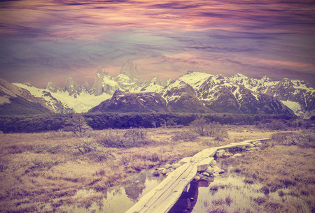 fitz roy: Vintage picture of Andes, Fitz Roy mountain range, Argentina
