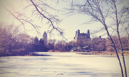 winter: Vintage picture of Central Park lake in winter  New York, USA