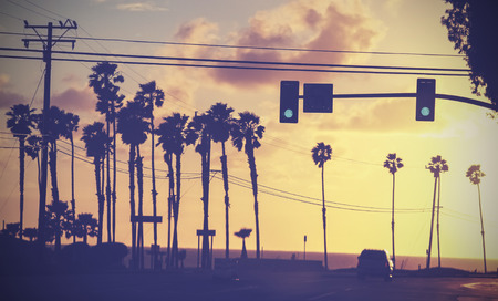 street lamp: Vintage sunset picture of palms and poles on street against sun  Stock Photo