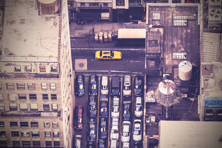 Vintage aerial picture of street in New York City, USA Banco de Imagens