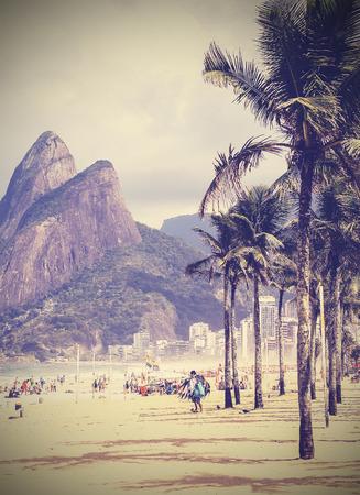 Vintage background  Retro tropical beach in Rio de Janeiro, Brazil photo