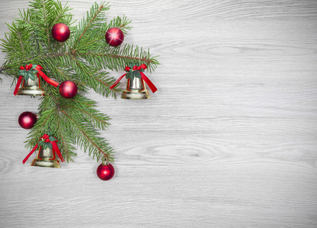 christmas christmas tree: Christmas background, decoration on a wooden board. Stock Photo