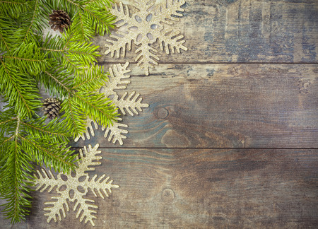 retro: Christmas background, decoration on a rustic wooden board