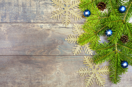Christmas background, decoration on a rustic wooden board  photo