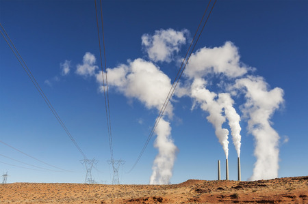 power industry: Power industry infrastructure  Chimney white smoke on a blue sky, USA  Stock Photo