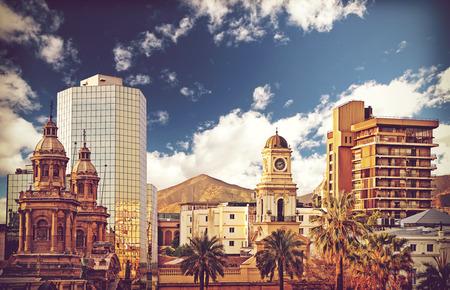 Vintage style picture of Santiago de Chile downtown, Chile. photo