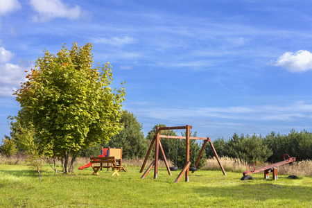 Playground on a fresh air in sunny day. photo