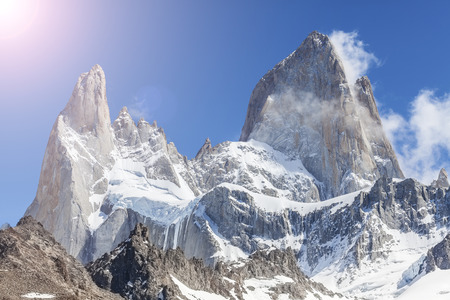 fitzroy: Sun over Fitz Roy Mountain, Patagonia in Argentina.