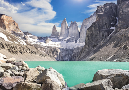 paine: Torres del Paine mountains, Patagonia, Chile Stock Photo