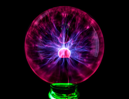 Plasma ball with colorful blots, abstract background. photo