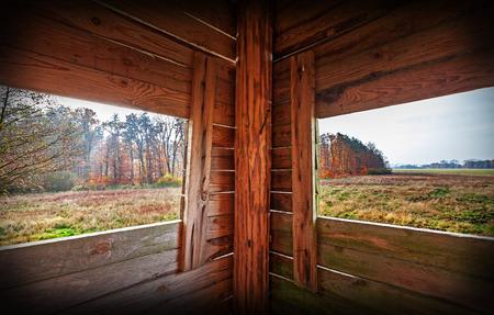 cazador: Interior de la torre de la caza en la temporada de otoño.