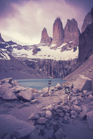 torres del paine: Retro filtered picture of Torres del Paine National Park.