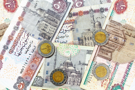 Money from Egypt, pound banknotes and coins. photo