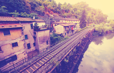 filtered: Vintage filtered picture of railroad in Tuscany.