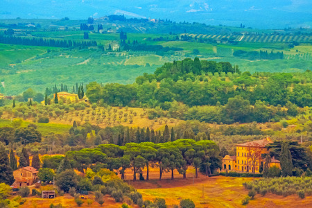 Oil painting filtered picture of Tuscany landscape, Italy. photo