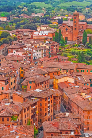 siena italy: Oil painting filtered picture of Siena, Italy.