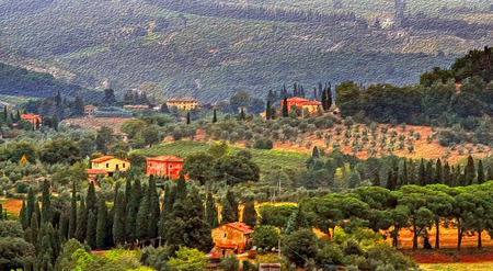 tuscan: Oil painting filtered picture of Tuscany landscape, Italy. Stock Photo