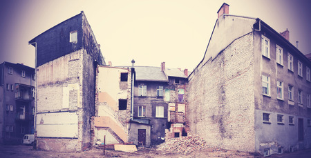 demolished: Decayed and partly demolished building in Bialogard, Poland.