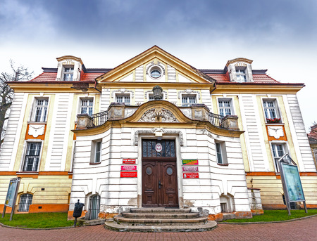 aleksander: Bialogard, Poland - November 27, 2014: City council of Bialogard located in historic building. Bialogard is a place of birth of Aleksander Kwasniewski, the President of Poland from 1995 to 2005.