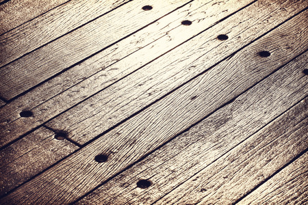 wooden planks: Sunset reflected on old, grunge wood panels, texture or background. Stock Photo
