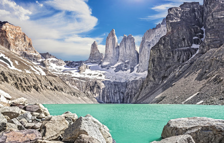 torres del paine: Torres del Paine mountains, Patagonia, Chile Stock Photo