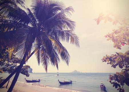 aonang: Vintage stylized photo of Andaman sea coast, Aonang in Thailand.