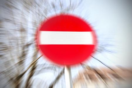 do not enter: Motion blurred do not enter traffic sign.