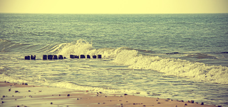 dof: Vintage retro stylized sea background, shallow depth of field (DOF). Stock Photo