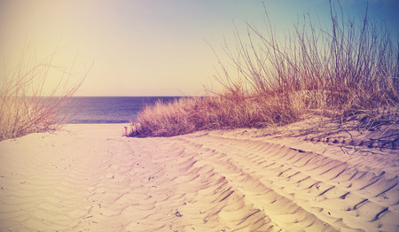 nature picture: Vintage filtered beach, nature background or banner.