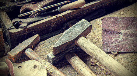 woodcraft: Retro filtered background made of old rusty woodworking tools. Stock Photo