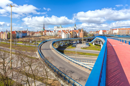 flyover: Roads, flyover, bridge and bicycle path. Road infrastructure in Szczecin, Poland.