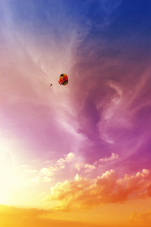 langkawi island: Paraglider at beautiful sunset, summer adventure in Malaysia; Langkawi Island.