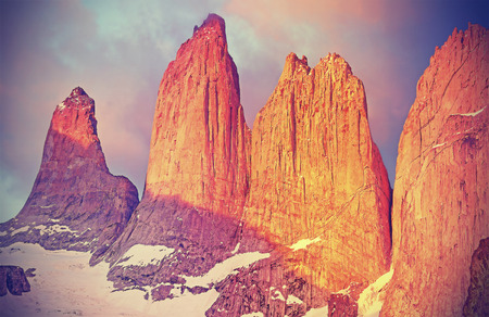 torres del paine: Sunrise over Torres del Paine mountains, Patagonia, Chile.