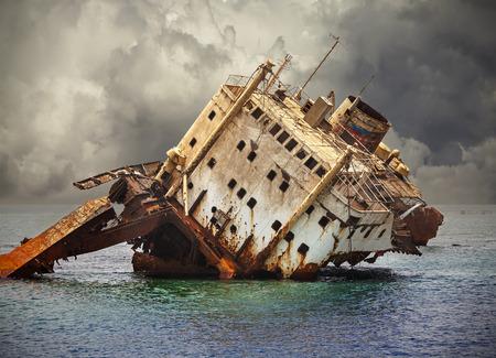 sunken: The sunken shipwreck on the reef, Red Sea in Egypt.